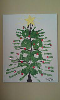 Family of four hand print Christmas Tree.