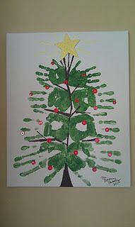 Family of four hand print Christmas Tree.