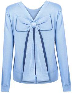 Blue Long Sleeve Bow Holow Knit Sweater - Sheinside.com