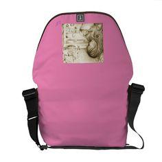 Vintage Carousel Dreams Pink & Brown Rickshaw Messenger Bag by #MoonDreamsMusic #MessengerBag #PinkAndBrown #VintageCarouselDreams #BabyGirl