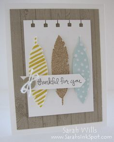 We love this Thank You card using the Feathers Framelits.