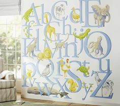 Alphabet wall decal, from pottery barn kids-- fun for a library nook!