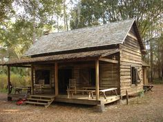 "modelled on a traditional ""Florida Cracker"" house: Small Log Cabin, Little Cabin, Tiny House Cabin, Log Cabin Homes, Cabin House Plans, Log Cabins, Farm House, Old Florida, Florida Style"