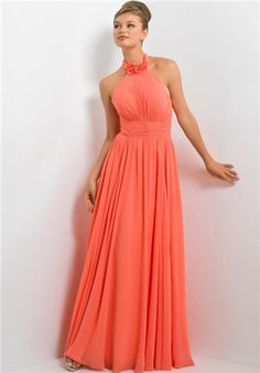 High neck halter bridesmaid dress with vertical shirring on the bodice and skirt.  It is embellished with a wide shirred waist band and floral detail at the top of the neckline.  Also available in short style 4176.