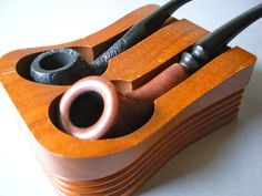 Vintage Pipes and Holder Set of 2 Pipes by VintageVaultAustin