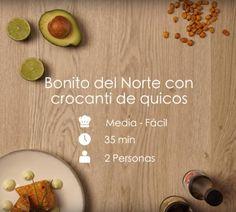 Receta   Bonito con crocanti de quicos - Vida Mediterránea Juices, Dishes, Food Cakes, Fun Recipes, Tasty, Dinner
