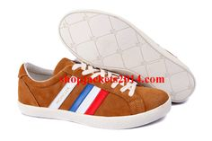 Moncler Outlet UK Monaco Suede Low Leather Sneakers Mens Shoes Camel
