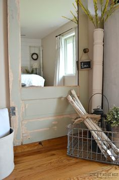 Old door turned into full length wall mirror DIY House Of Mirrors, Wall Mirrors Entryway, Big Wall Mirrors, Rustic Wall Mirrors, Living Room Mirrors, Mirror Walls, Framed Wall, Wall Mirror With Shelf, Mirror Gallery Wall
