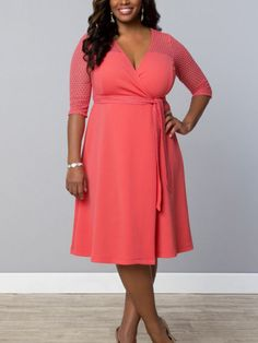 Honeycomb Wrap Dress by Kiyonna Plus Size Clothing – SexyPlus Clothing