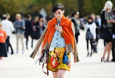 printed skirt and lumberjack jacket.