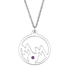 Sterling Silver 'Mom' Birthstone Crystal Circle Pendant (May), Size: 20 Inch, White