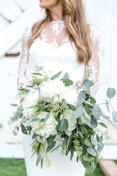 Organic, natural, deconstructed green and white wedding bouquet - white peonies, seeded eucalyptus {Leah Marie Photography}
