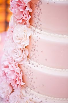 Pink Wedding Cake with Edible Flowers