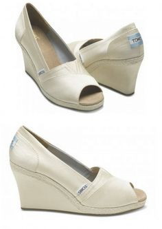 "TOMS wedges - can they make them close-toed? Put Mint Blue bow on back! ""something blue"" Bridesmaids with wedding colored Toms heels with white bows!  Take picture from behind of all shoes lined up :)"