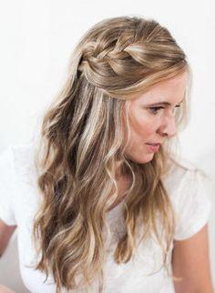 The most stylish 2017 braid wedding hairstyles Waterfall Braid With Curls, Waterfall Hairstyle, Braids With Curls, Braided Hairstyles For Wedding, Loose Hairstyles, Braid Hairstyles, Braid Styles For Girls, Short Hair Styles, Bridal Braids