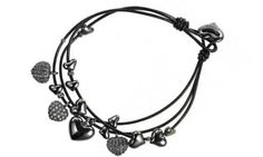 Pilgrim hematite crystal hearts stacker bracelet. Classic Pilgrim style black leather string bracelet with hematite-plated hearts, some of which are crystallised. The friendship bracelet is designed to be layered with varying colour combinations from Pilgrims bracelet collection. Presented in official Pilgrim packaging. Order before 2pm for next day free UK delivery. MPN: 60123-3062 £25.00. http://www.zoekayjewellery.co.uk/products/853/pilgrim-hematite-crystal-hearts-stacker-bracelet