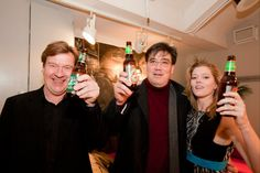 From 2010 CONTACT! concert:   New York Philharmonic then Composer-in-Residence Magnus Lindberg (left), Music Director Alan Gilbert (center) and soprano Barbara Hannigan (right) at the CONTACT! post-concert reception.