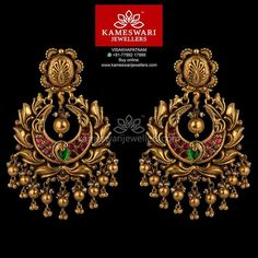 Mesmerizing collection of gold earrings from Kameswari Jewellers. Shop for designer gold earrings, traditional diamond earrings and bridal earrings collections online. Gold Jhumka Earrings, Buy Earrings, Jewelry Design Earrings, Gold Earrings Designs, Gold Jewellery Design, Bridal Earrings, Necklace Designs, Gold Jewelry, Antique Earrings