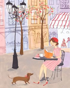 Sunday: good coffee, cake and reading / Domingo: un buen café, pastel y lectura (ilustración de Emma Block)