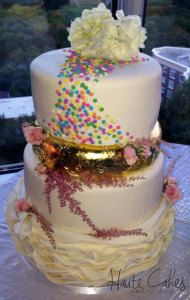 Wedding Cake | Gold & Sprinkles & Ruffles | Haute Cakes Pastry Shop | DC & Northern VA Bakery