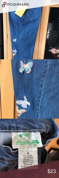 NWT jeans with embroidered butterflies Jeans, never worn, thin denim, pockets in front and back, new with tags, great condition, embroidered butterflies with Crystal embellishment. quaker factory Jeans Straight Leg