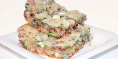 Cake Batter Blondies: Everyone's favorite Christmas cookies! Use holiday sprinkles or rainbow sprinkles.