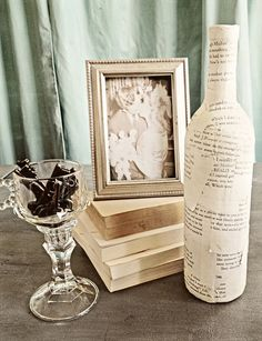 5 LOVE STORY vases paper covered book page centerpiece rustic wedding IVORY antique theme library shower