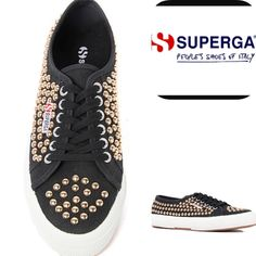 NWT Superga Snickers with Gold Studs Perfect in every way! Amazing as a gift! New in box and never worn. Gold studs on black canvas. These shoes are amazingly comfortable, not to mention stylish. Size women's 10 US. Supergas tend to run a half size or so big. They come in their original box. Offers welcome. No trades. Bundle 3 or more and receive 30% off your purchase! Happy Poshing! Superga Shoes Sneakers