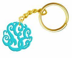 Monogram Keychain Acrylic Turquoise