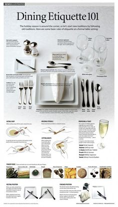 Dining Etiquette 101 by sun-sentinel via visually.net: Basic rules of etiquette at a formal table setting. Read more about eating soup, holding utensils, proposing a toast, cutting meats and finger foods. #Infographic #DIning #Etiquette