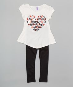 Another great find on #zulily! Maya Fashion White Sequin Heart Tunic & Black Leggings - Girls by Maya Fashion #zulilyfinds