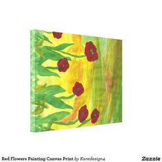 Red Flowers Painting Canvas Print
