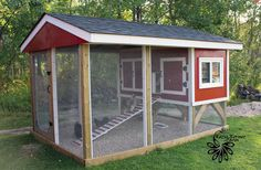 4 X 8 hutch style coop w with a 12 x 8 covered run enclosed in hardware cloth.