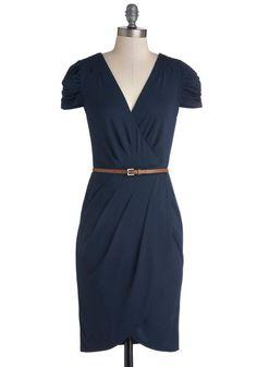 Book Exchange Brunch Dress - Blue, Solid, Ruching, Short Sleeves, Good, V Neck, Knit, Mid-length, Pleats, Belted, Work, Sheath / Shift