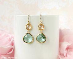 Aqua blue and peach earrings Gold dangle champagne by irenau