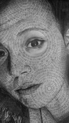 Eleni Pencil Portrait with musical notes making the pattern