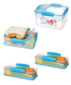 Look at this #zulilyfind! Blue Snack Attack Stacking Container Set by Sistema #zulilyfinds