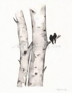 Birke Baum Liebe Nr. 1, Liebe Vögel, Romantik, Aquarell druckbare, Birke Baum Aquarell, schwarz und weiß, Künstlerin Kelly Bermudez