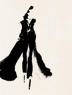 Fashion illustrator Aurore de La Morinerie Paris. Ink watercolor etching print. Illustratrice de mode Illustrations dessinées à la main. Encre aquarelle monotype. Printemps, Margiela