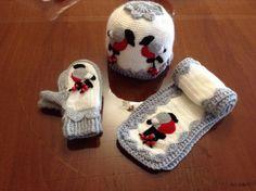 Комплект Снегири в каталоге Одежда на Uniqhand - варежки, шарф, вязание, хлопок