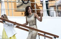 Princess Mary looked stylish in a cream dress covered with jewel embellishments