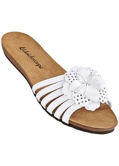 White Leather Flower Mules