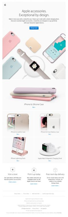 Shared by Elliot Ross Show Plain Text Email Apple accessories. Exceptional by design. Make it more you with a colourful case. Power up in style with a sleek charging dock. Discover essential Apple accessories, created by our designers to go perfectly with your favourite Apple devices. Shop now (LINK) ——————————————————————————– iPhone 6s Silicone Case Buy …