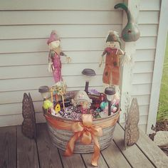Decorated her fairy garden for fall