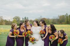 Bride and her Bridesmaids // Plum Purple and Sunflower Wedding // Ashley Errington Photography