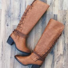 Cognac Lace Up Back Knee High Boots | rue21