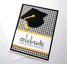 Handmade Graduation Card - Celebrate You Graduation Card - Graduation Cap Card - Class of 2016 - Cap and Tassel Card - Hand Stamped