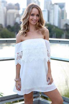 Crochet Aproned White Polyester A Line Mini Dress