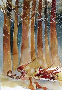 Pinzellades al món: Nadal: il·lustracions de Minna Immonen / Navidad: ilustraciones de Minna Immonen / Christmas: Minna Immonen Illustration. I think I just like the fluidity of this Christmas Pictures, Christmas Art, Winter Christmas, Illustration Noel, Christmas Illustration, Scandinavian Christmas, Pixies, Faeries, Watercolor Art