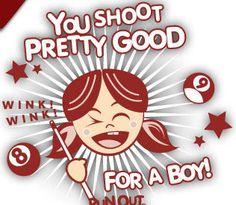 You shoot pretty good, for a boy ;) #girlpower ! #billiard
